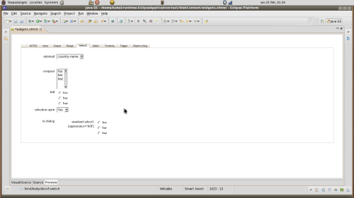 The preview in the xforms aware editor